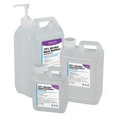 1,2.5 & 5L 75% Alcohol Liquid Hand Sanitiser (WHO Formula) w/ Optional Pumps