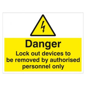 Danger Lockout Devices to be Removed 450 600 mm 18 inch 24 inch