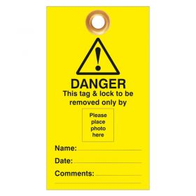 Danger This Tag and Lock to be Removed Only By Photo ID Pack of 10