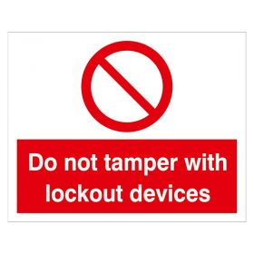 Do Not Tamper with Lockout Devices Red White