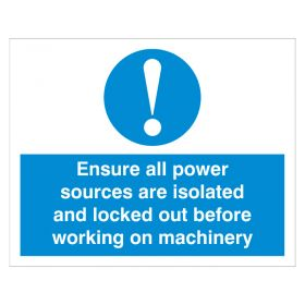 Exclamation Ensure All Power Sources are Isolated White and Blue