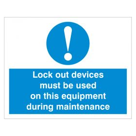Exclamation Lockout Devices must be used White and Blue