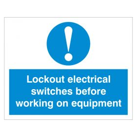 Exclamation Lockout Electrical Switches White and Blue