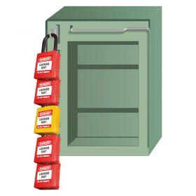 Heavy Duty Lockout Box with 5 Locks w150mm h200mm d100mm