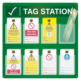 Lockout Tags Station Wall Mounted with 8 Pockets 143mm x 80mm