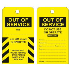 Out Of Service Do Not Use or Operate Yellow Pack of 10