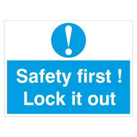 Safety First Lock It Out White Blue 450 600 mm 18 inch 24 inch