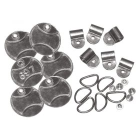 Zinc Stainless Steel Circular Padlock Tags Set of 6