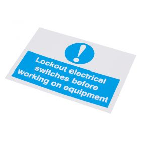 Lockout Electrical Switches before Working Self Adhesive Label 55 75mm 10