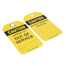 Caution Out of Service with Company Logo Pack of 200 Yellow 1