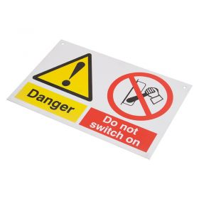Do Not Touch Men Working Sign 200mm 150mm