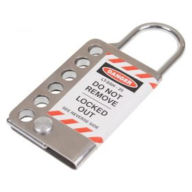 6 Padlock Heavy Duty 25mm Stainless Steel Outer Hasp Open
