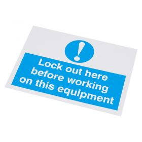 Lockout Here Before Working Self Adhesive Label 55 75mm 10