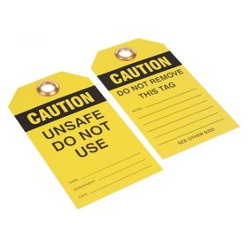 Caution Unsafe Do Not Use with Company Logo Pack of 200 Yellow 1