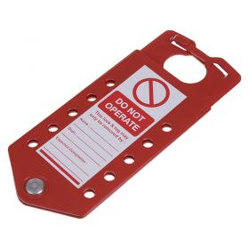 Integrated Tag and Hasp Red