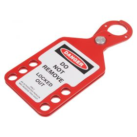 6 Hole Red Hasp with Integrated Tag