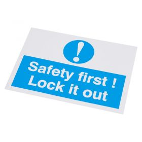 Safety First Lock It Out Self Adhesive Label 55 75mm 10