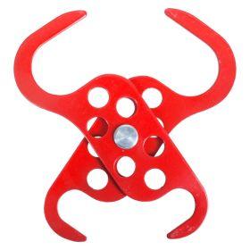 Dual Scissor Powder Coated Scorpio Hasp 6 hole Red