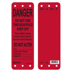 Masterlock S4700/1/2 Scaffold Tags w/ Colour Selection