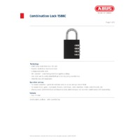 ABUS 158KC Combination Lock - Datasheet
